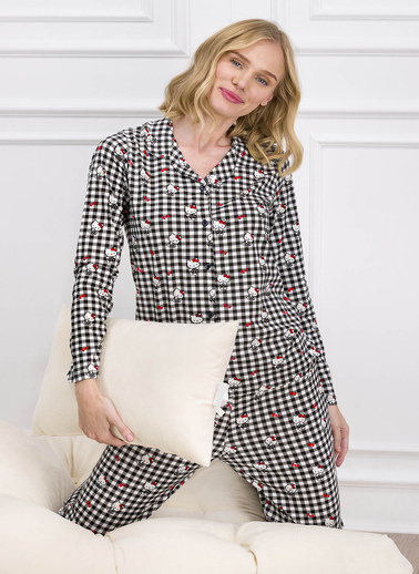 Hello Kitty Hello Kitty Lisanslı Siyah Kadın Düğmeli Gömlek Pijama Takımı Siyah